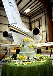 Hangar wedding party